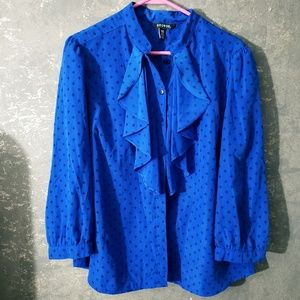 Blue and black blouse with ruffles  Size 1x